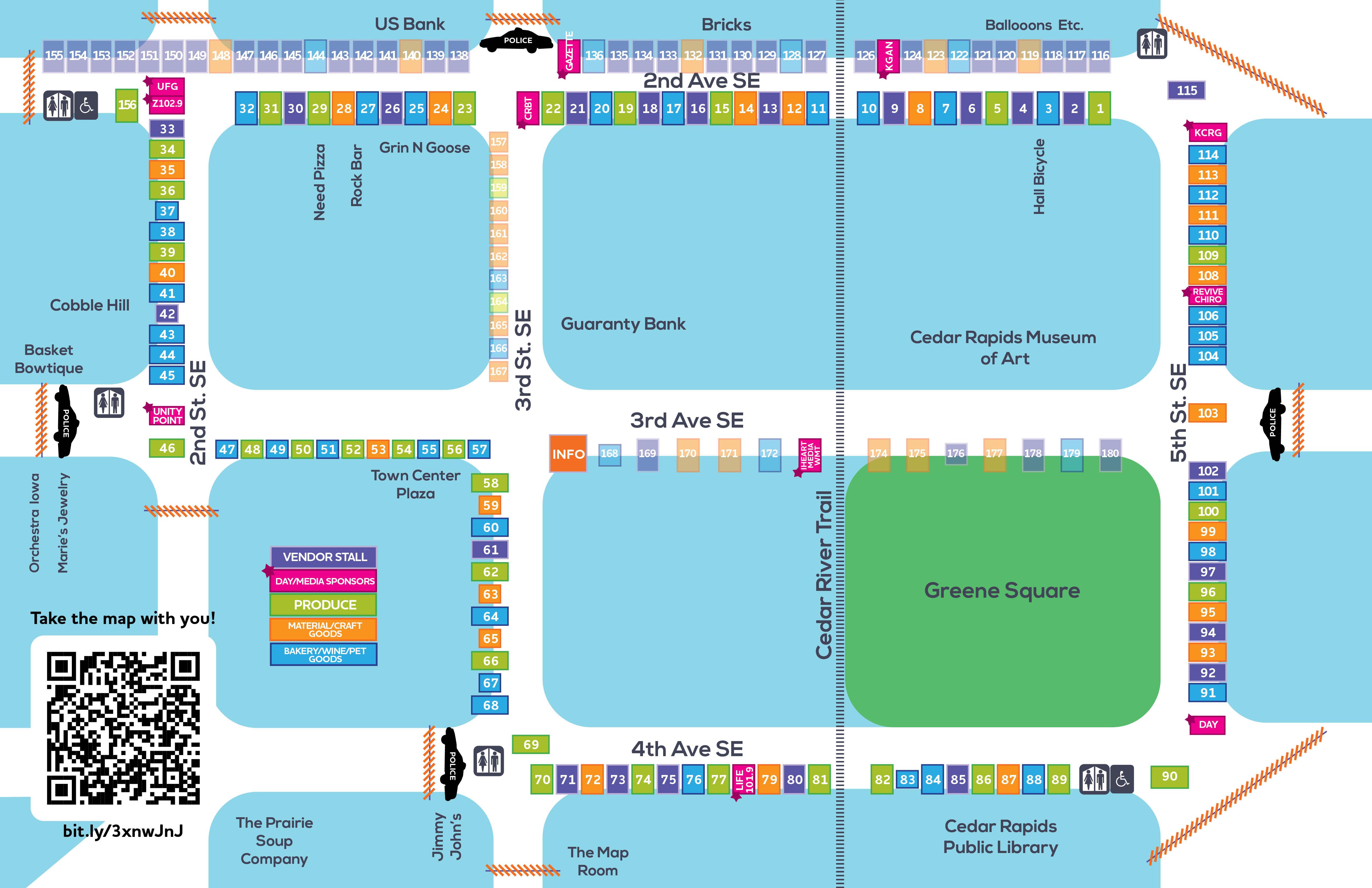 Downtown Cedar Rapids Farmers Market map 2021