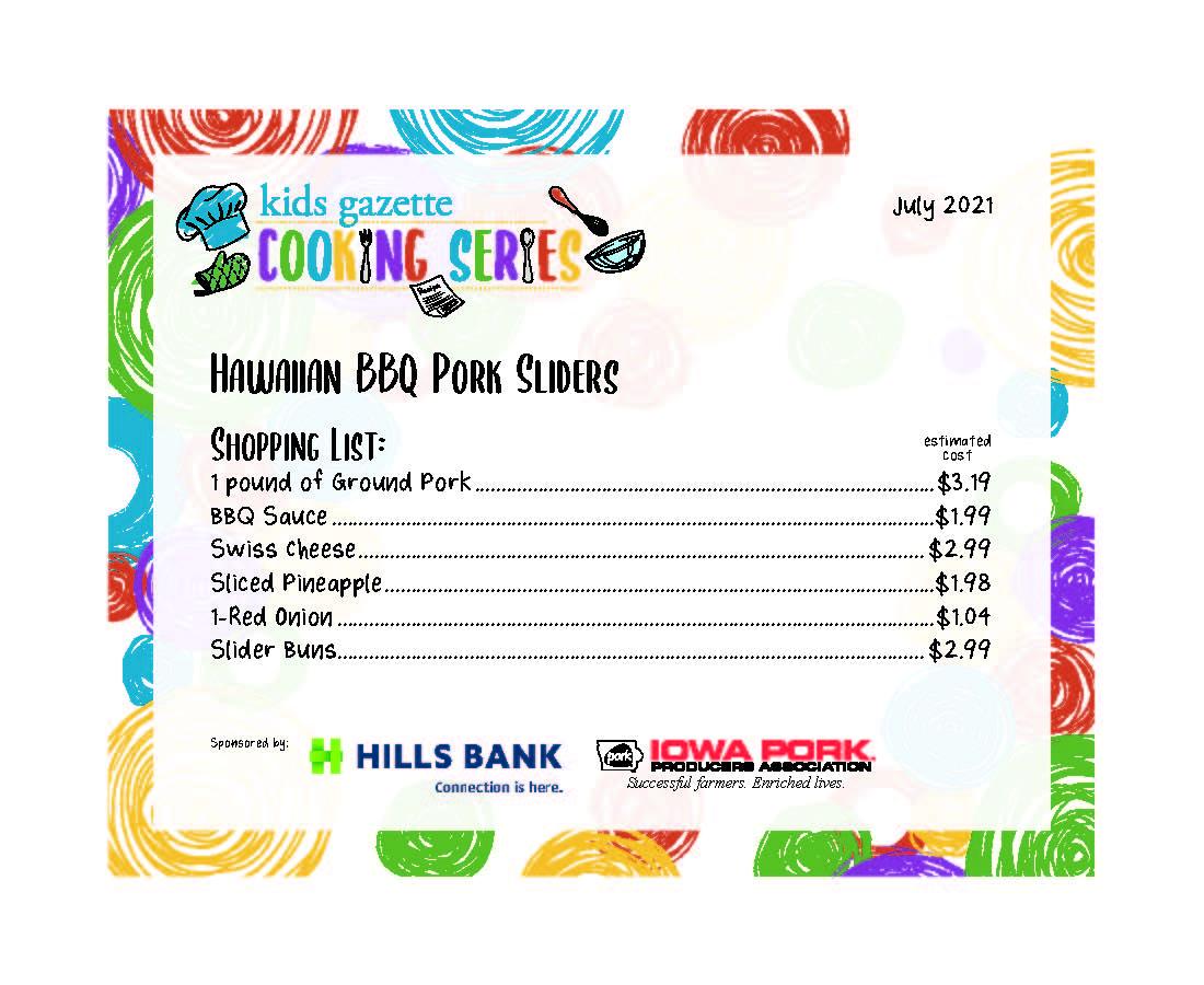 Hawaiian BBQ pork sliders shopping list