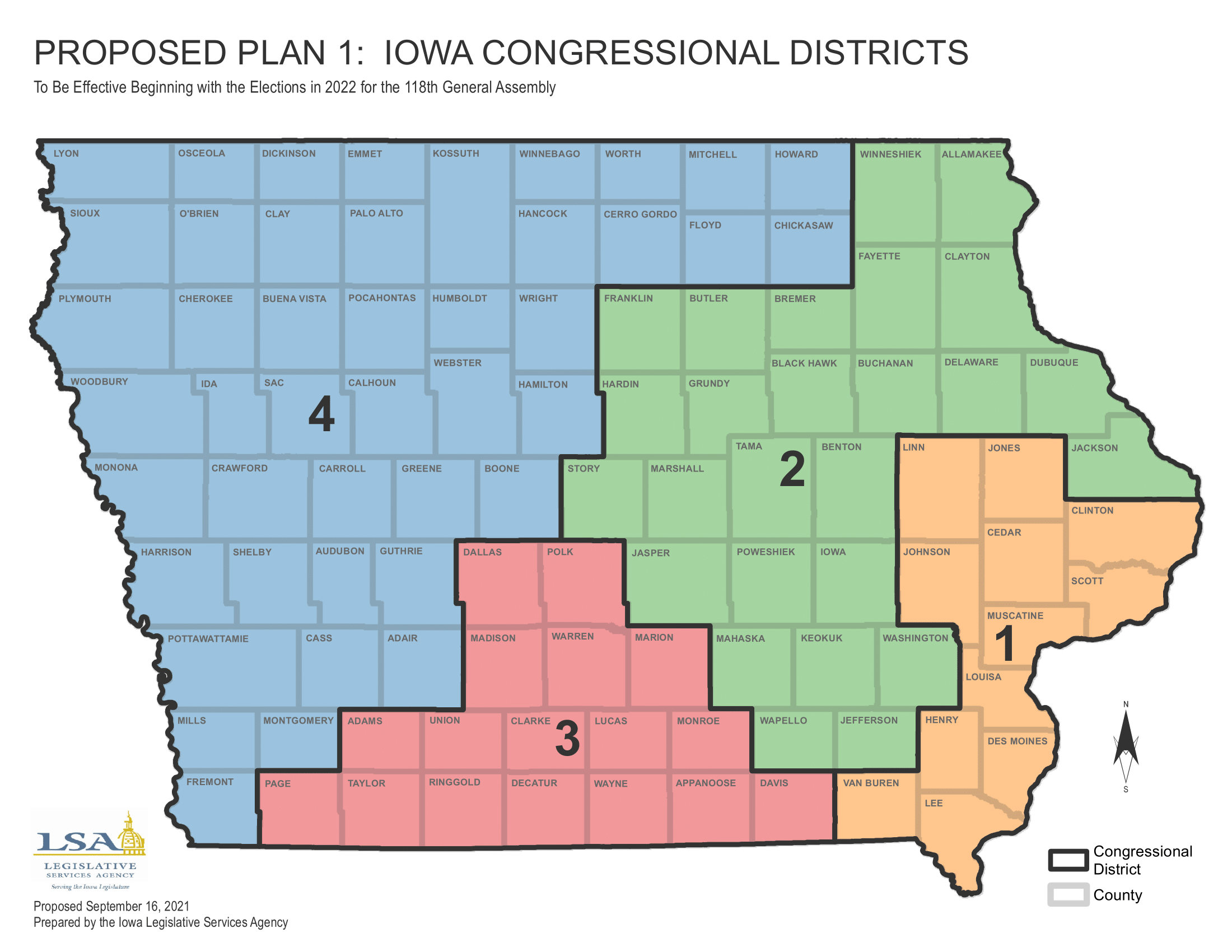 Iowa redistricting 2021 proposed congressional map