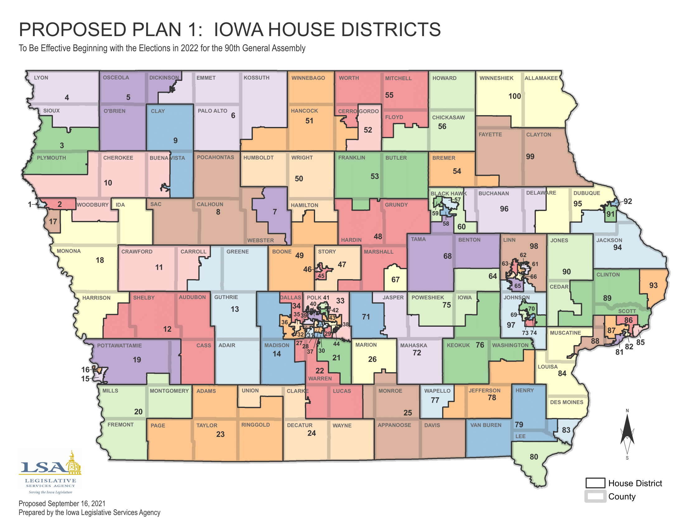 Iowa redistricting 2021 proposed House districts map
