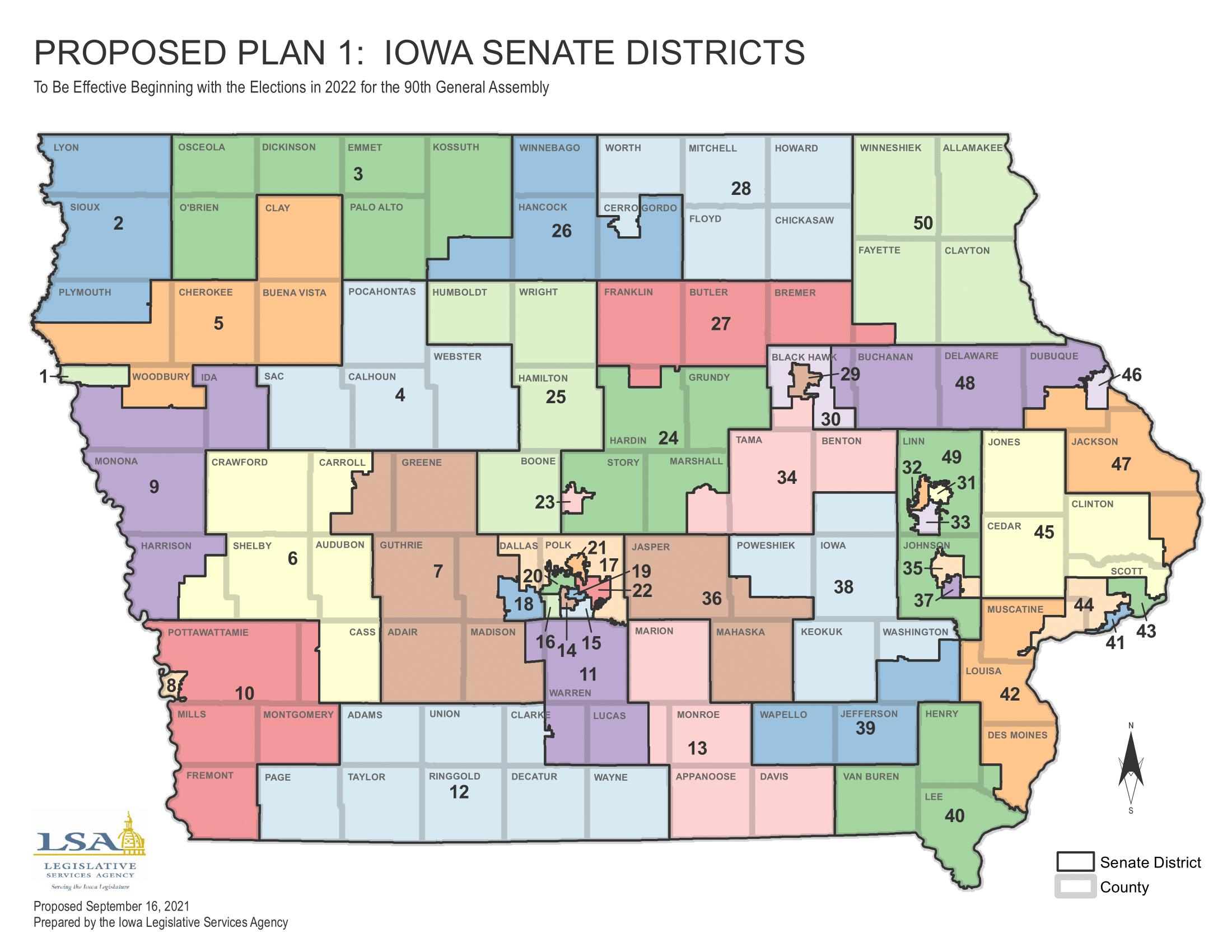Iowa redistricting 2020 proposed Senate districts map