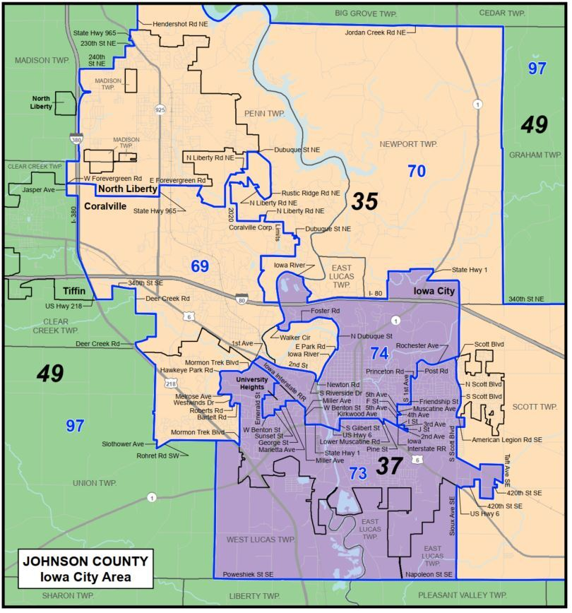 Iowa redistricting 2020 proposed Johnson County districts