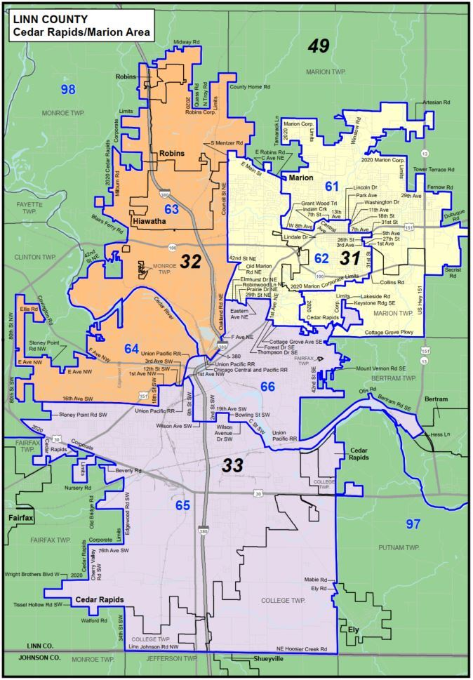 Iowa redistricting 2020 proposed Linn County districts