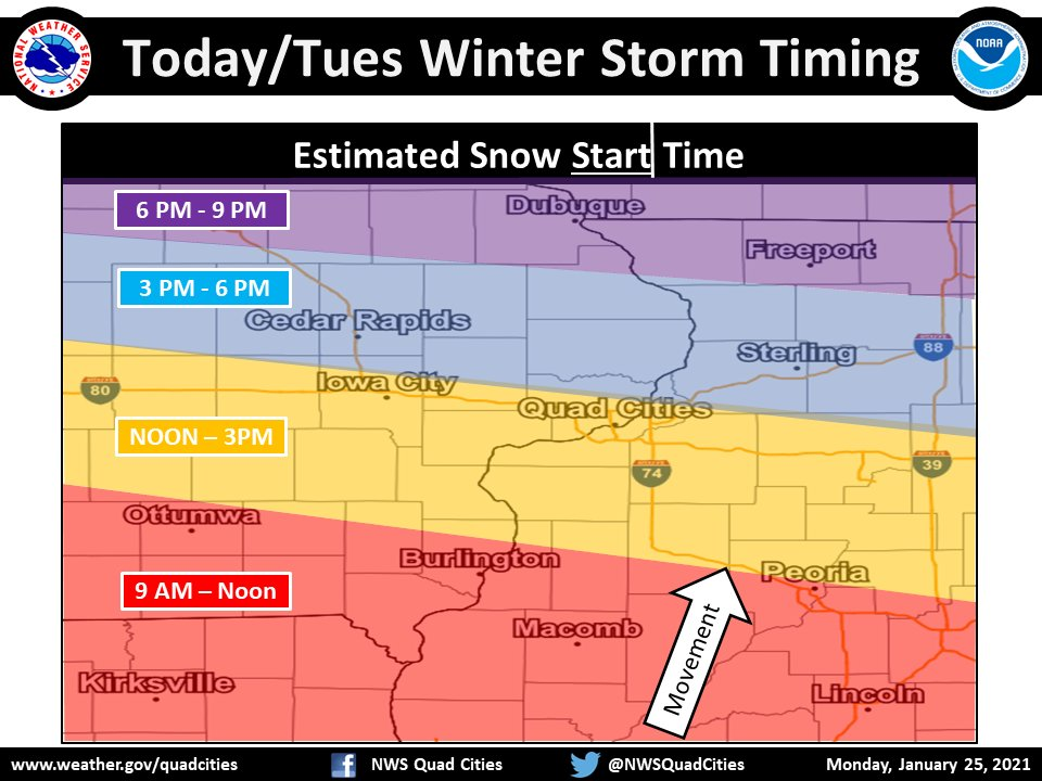 cedar rapids snow storm timing